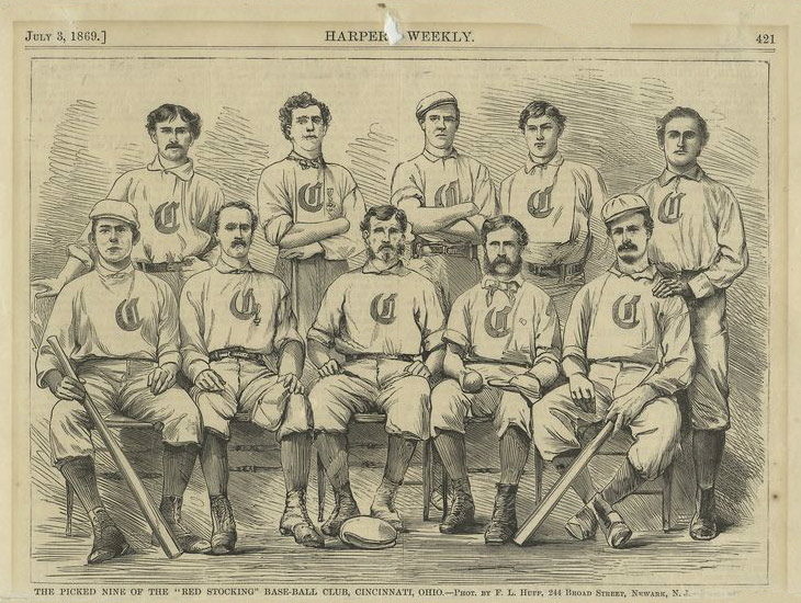 "Baseball history illustration: From Harpers Weekly of July 3, 1869. Legend reads ""The Picked Nine of the ""Red Stocking"" Base-Ball Club, Cincinnati, Ohio. —Phot. by F.L. Huff, 244 Broad Street, Newark, N.J."" Click illustration to return to previous page."