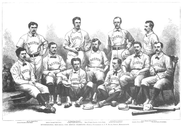 Baseball history photo: Eleven of the 12 members of the Boston Club that traveled on the 1874 Tour - Seated (L to R): James O'Rourke, First Base; Andrew Leonard, Left Field; George Wright, Short Stop; Harry Wright, Captain and Centre Field; George Hall Substitute; Harry Shafer, Third Base; Thomas Beals, Substitute.  Standing (L to R): Cal McVey, Right Field; Al Spalding, Pitcher; James White, Catcher; Rosco Barnes, Second Base.  Not pictured is Sam Wright, Jr. Click photo to return to previous page.