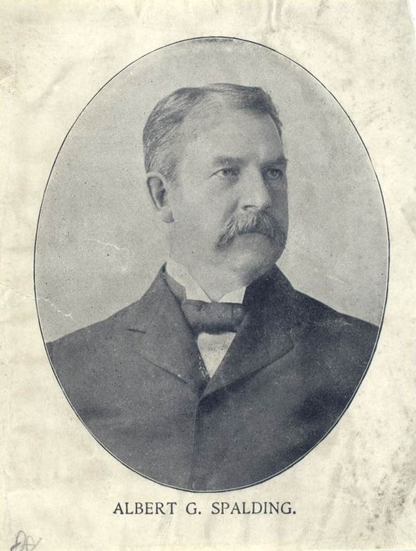 Baseball history photo: Photographic portrait of Albert G. Spalding the most influential person in professional baseball from 1878 to the end of the 19th century.  Click photo to return to previous page.