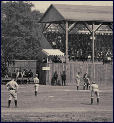 Baseball game between Lima (Ohio) and Wheeling (West Virginia), circa 1887. Click to enlarge.