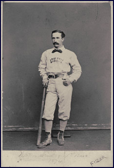 Portrait of Weston Fisler with Bat, 1874. Click to enlarge.