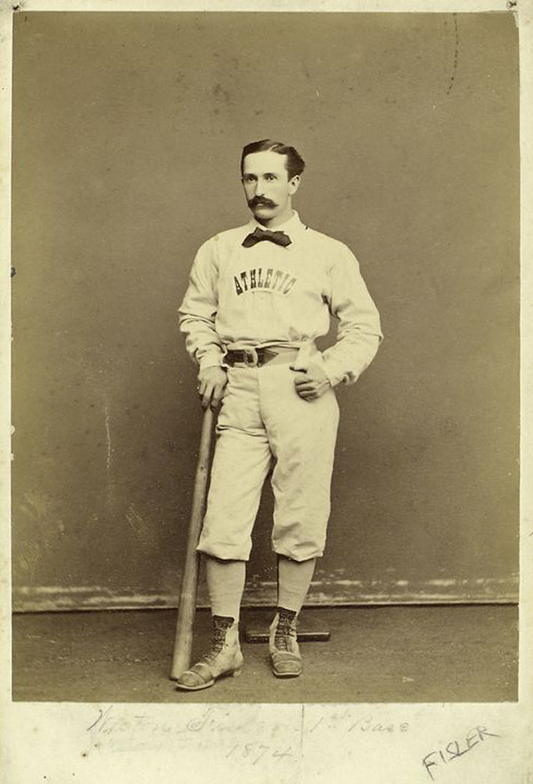 "Baseball history photo: Athletic Club of Philadelphia player Weston Fisler in 1874.  Fisler played for the Camden Club of New Jersey, his hometown, in 1865 and joined the Athletic Club of Philadelphia in 1866.  Fisler was a member of the 1871 National Association Champion Philadelphia ""Athletics"" in 1871 as well as a member of the same Philadelphia Club that traveled to Europe for the 1874 World Tour.  He was mainly a first base but he did play a number of games at second and retired after the inaugural National League season in 1876.  He has the distinction of scoring the first run in National League history on April 22, 1876, in a 6-5 loss to the Boston Club in Philadelphia at the Jefferson Street Grounds..  Click photo to return to previous page."
