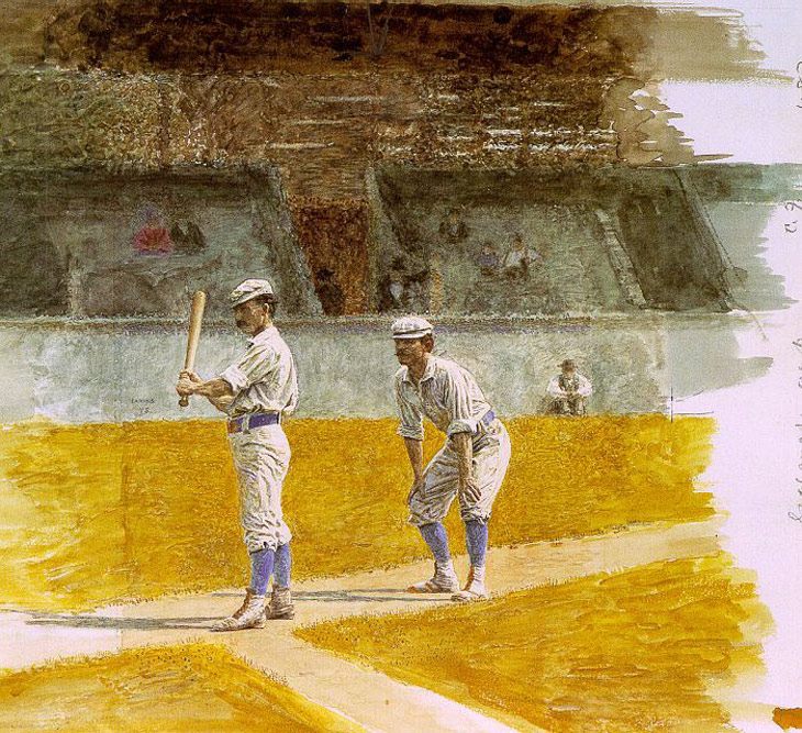"Baseball history photo: ""Baseball Players Practicing,"" 1875. This well-known watercolor (on paper) by Thomas Eakins (American, 1844-1916) is in the collection of The Museum of Art at the Rhode Island School of Design, Providence, Rhode Island. It measures 10¾ x 13 inches. The players depicted are members of the Philadelphia Athletics (National Association). Batting is Wes Fisler and catching is, most probably, John Clapp. The location is most likely the Jefferson Street (Avenue?) Grounds, also known as Athletics Park, in Philadelphia. Click photo to return to previous page."