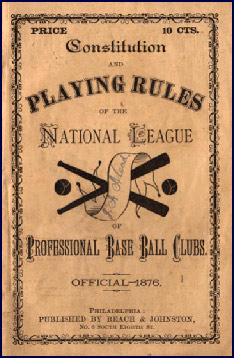Baseball Rules 1876. Click to enlarge.