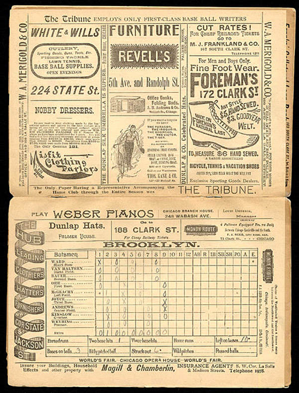 Baseball History: 19Th Century Baseball: Image: Baseball Scorecard