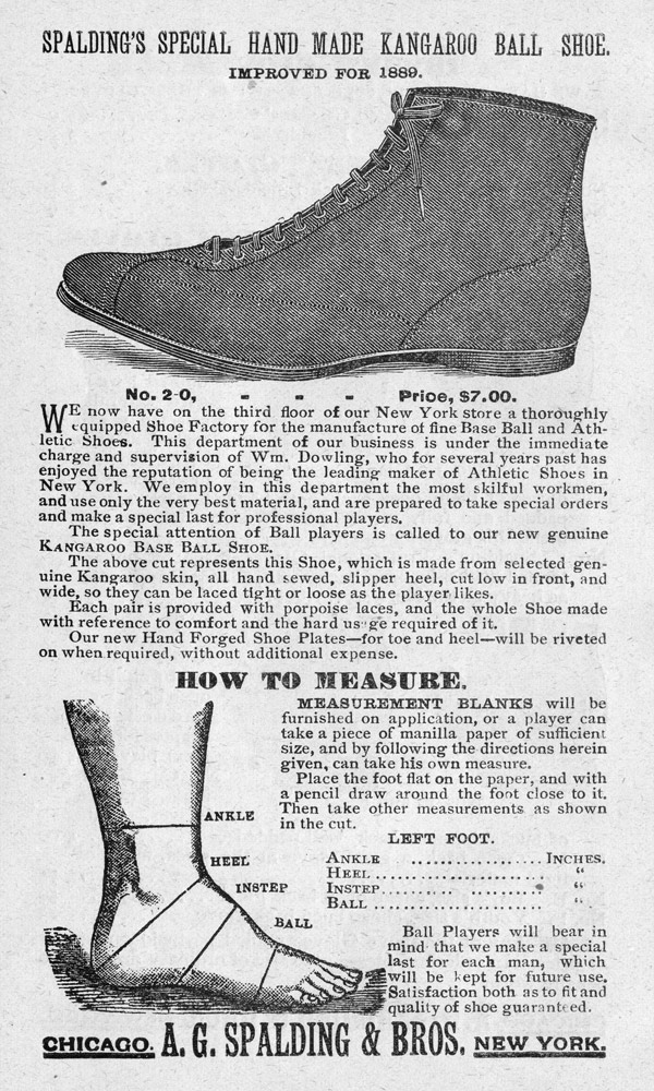 Baseball history photo: Base ball shoe advertisement from the Spalding Official Base Ball Guide, 1889. Click photo to return to previous page.