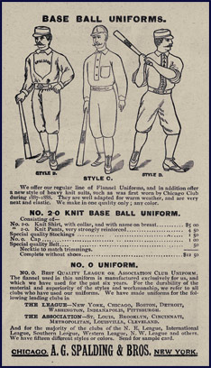 Base Ball Uniforms. Click to enlarge.