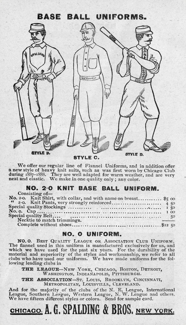 Baseball history photo: Base ball uniforms advertisement from the Spalding Official Base Ball Guide, 1889. Click photo to return to previous page.