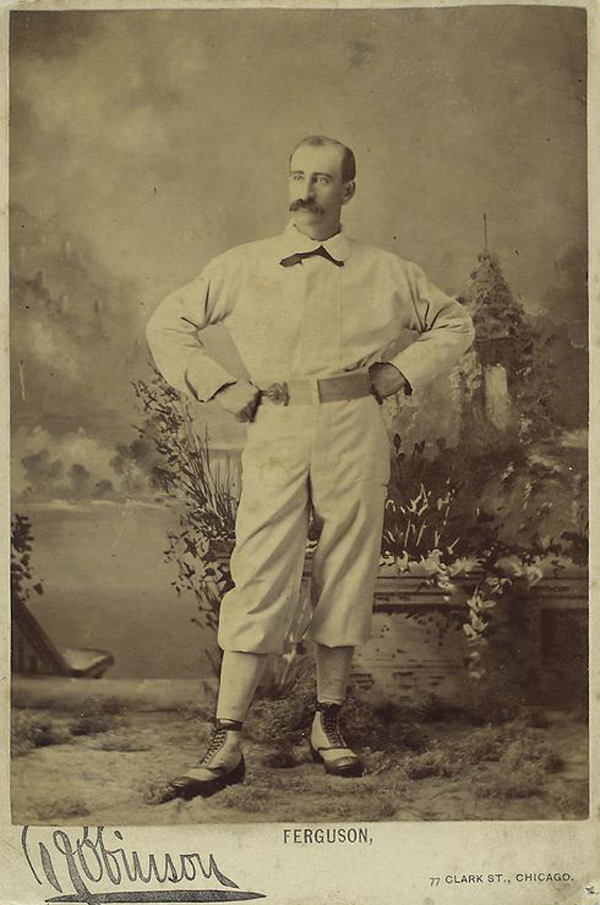 Baseball history photo: Bob Ferguson, the first switch-hitter in professional baseball, circa 1878.  Despite having his best overall offensive season in 1878, hitting over .300 for the only time in his professional career, Ferguson, the Manager of Albert Spalding's Chicago White Stockings, was despised by Spalding for his managerial style and the fourth place finish.  There has been no player in baseball history to have accomplished what Ferguson has.  He was a Player-Manager and a respected umpire in Brooklyn before baseball became openly professional.  In its second season he was elected the President of the National Association of Professional Base Ball Players, 1872, holding that position until the league folded in 1875.  He was also an umpire in the NA, 1872-1873 and in 1875.  He was a Player-Manager for 11 seasons in both the National League of Professional Base Ball Clubs, 1876-1883, as well as an umpire in 1878 and 1884-1885 and the American Association of Base Ball Clubs, 1884-1887 and again as an umpire from 1886-1889 and in 1891.  He was also an umpire in the Players' National League of Base Ball in 1890, in its only season.  He is the only person in baseball history to have been a Player, Manager, Umpire and League President at one time and the only person to have been an Umpire in four different professional leagues.  He has still not been elected to the Baseball Hall of Fame proving that his accomplishments and importance to the game's early beginnings are unknown nor understood by the election committee.  Click photo to return to previous page.