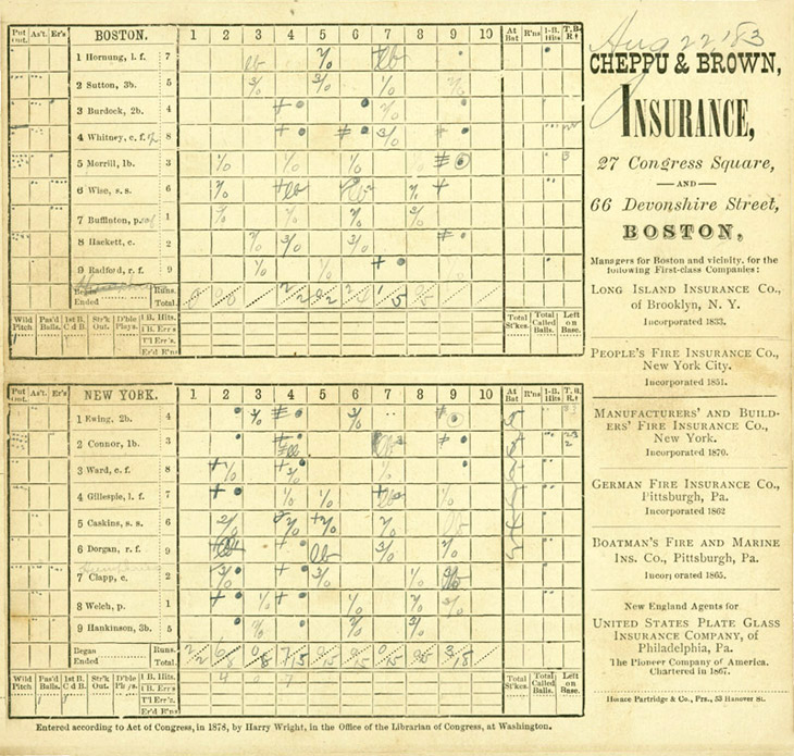 Baseball history photo boston new york baseball scorecard august 22