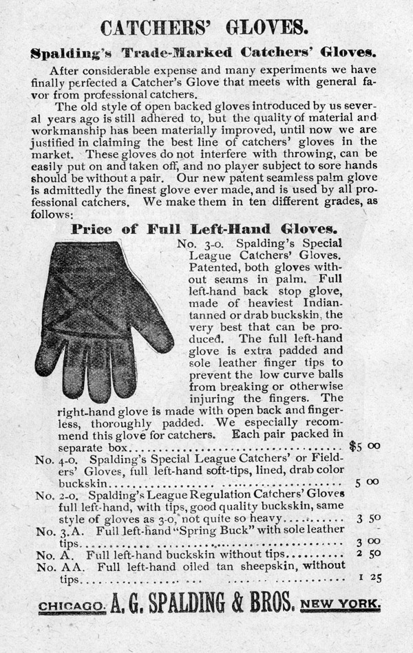 Baseball history photo: Catcher's glovess advertisement from the Spalding Official Base Ball Guide, 1889. Click photo to return to previous page.