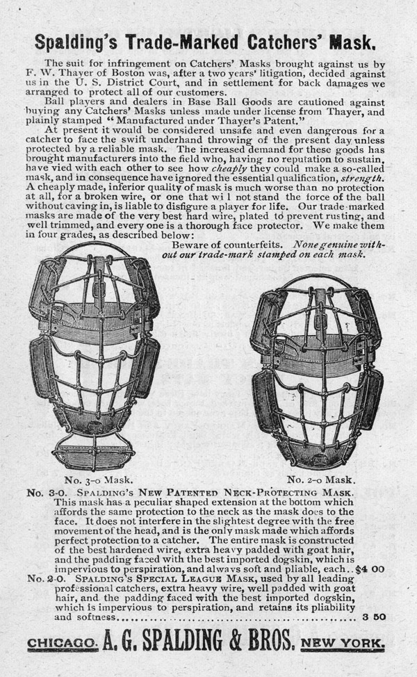 Baseball history photo: Catcher's masks advertisement from the Spalding Official Base Ball Guide, 1889. Click photo to return to previous page.