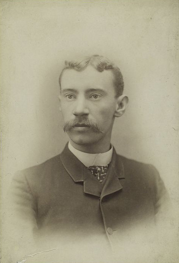 Baseball history photo: Close Up portrait of Philadelphia Phillies pitcher, Charlie Ferguson circa 1885.  Click photo to return to previous page.