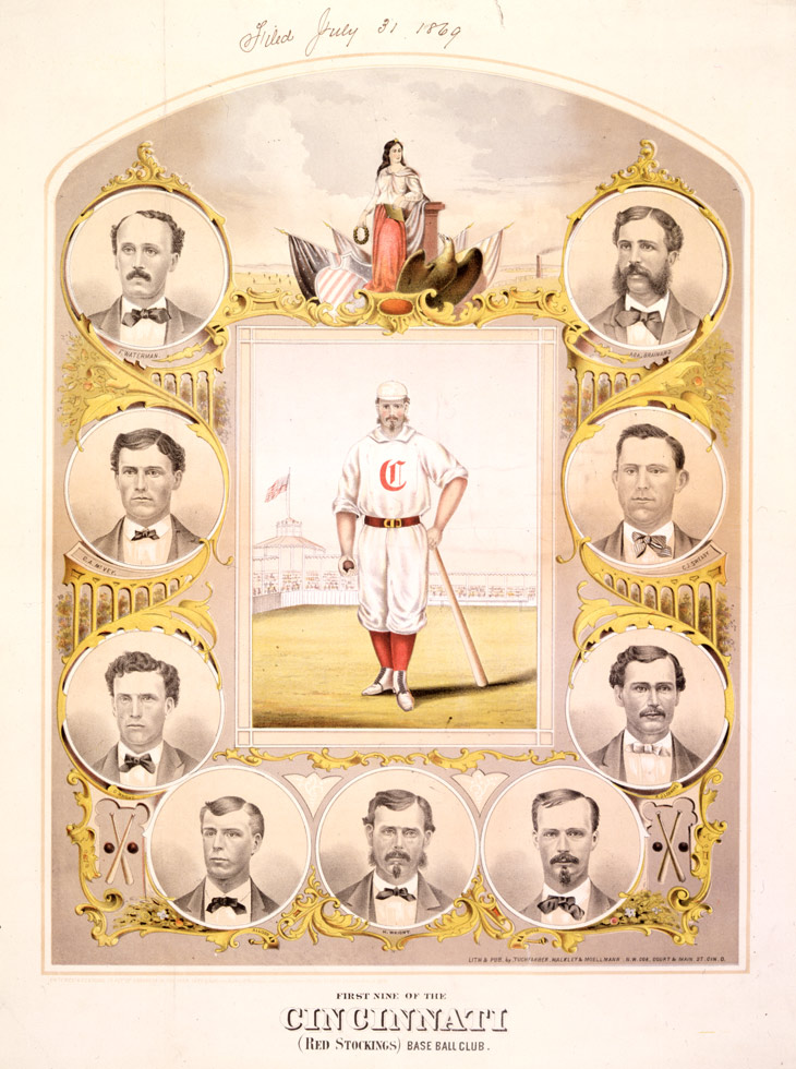 Baseball history photo: Illustration of the undefeated Cincinnati Club of 1869.  Starting at the upper left and continuing counter clockwise: Fred Waterman, Third Base; Cal McVey, Right Field; George Wright, Short Stop; Doug Allison, Catcher; Harry Wright, Manager and Centre Field; Charley Gould, First Base; Andy Leonard, Left Field; Charles Sweasy, Second Base; Asa Brainard, Pitcher.  Harry Wright is the player in the center of the picture in full uniform.  Click photo to return to previous page.