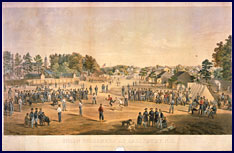 Union prisoners at Salisbury North Carolina engage in a game of baseball. Click to enlarge.