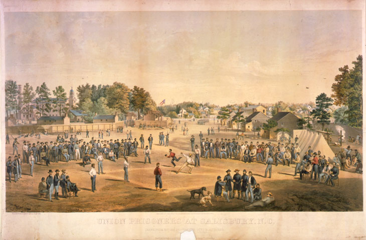 "Baseball history illustration by Otto Boetticher: Union prisoners at Salisbury North Carolina engage in a game of baseball. While the Civil War took its toll on baseball league membership, it helped popularize the game by spreading it throughout the southern parts of the United States.  According to ""Baseball in Blue and Gray"" by George B. Kirsch, ""Otto Boetticher was a commercial artist from New York City who enlisted in the 68th New York Volunteers in 1861 at the age of 45.  He was captured in 1862 and wound up at Salisbury before being exchanged for a Confederate captain on September 30th.  His illustration presents an idealized, pastoral view of a match in a setting that more closely resembled the Elysian Fields in Hoboken than a jail yard.""  Click illustration to return to previous page."