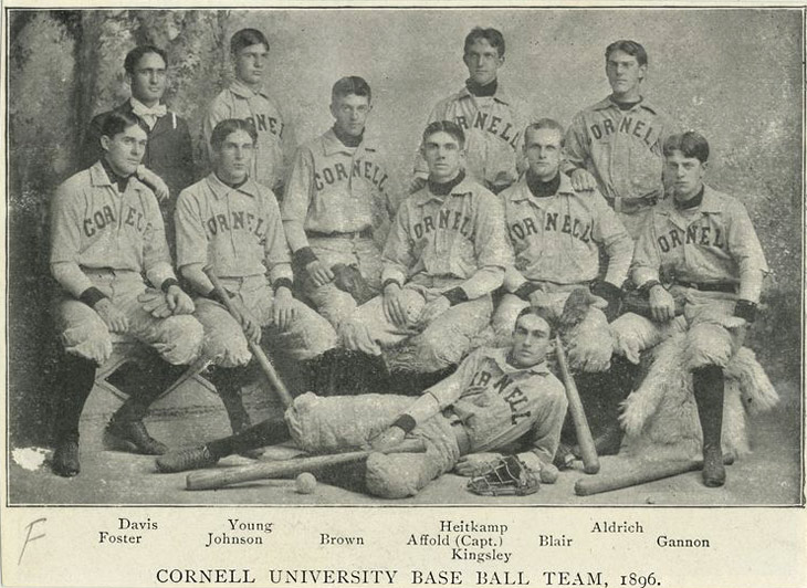 Baseball history photo: Cornell University Base Ball Team, 1896. Click photo to return to previous page.