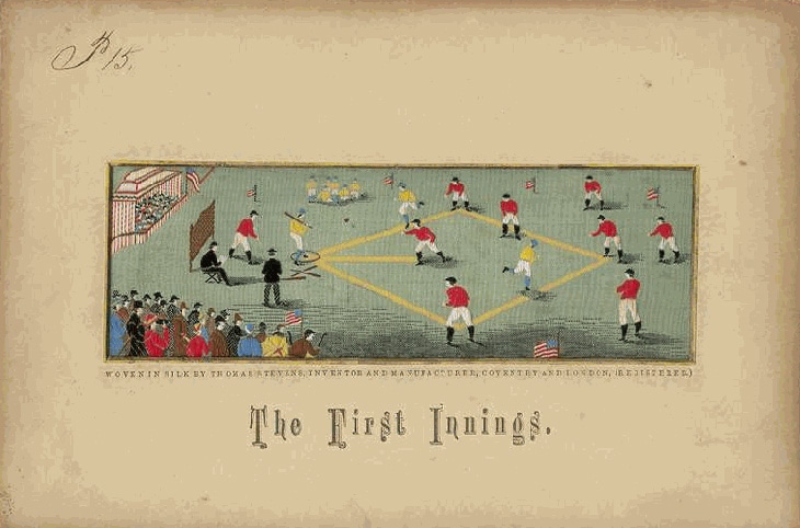 "Baseball history photo: The First Innings. Thomas Stevens silk postcard depiction of early baseball game, presumably at Elysian Fields in Hoboken, New Jersey. Caption reads: ""WOVEN IN SILK BY THOMAS STEVENS, INVENTOR AND MANUFACTURER, COVENTRY AND LONDON, (REGISTERED.)"" Click photo to return to previous page."