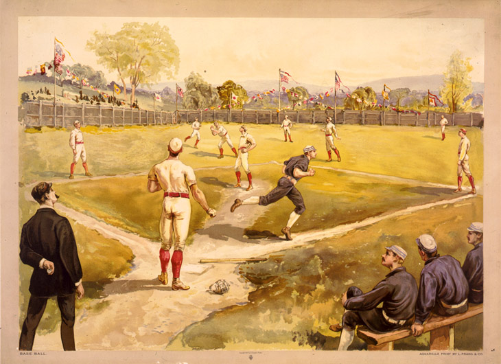 "Baseball history photo: Color print of early Baseball game. Legend reads, ""Base Ball. Aquarelle print by L. Prang & Co."" Click photo to return to previous page."