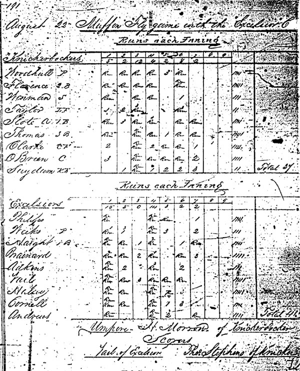Baseball history photo: An early tally sheet from the Knickerbocker Baseball Club of New York. Note that on this day the Knickerbockers were beaten by the Excelsiors, 41 to 34. The original leather-bound book of Knickerbocker tally sheets is available for research at the New York Public Library.  Click photo to return to previous page.