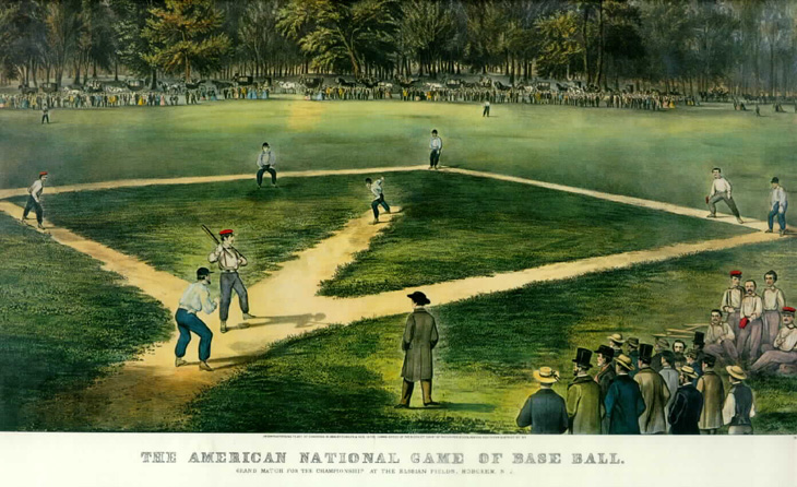 "Baseball history photo: Currier & Ives print of early Baseball game. Legend reads, ""The American National Game of Baseball. Grand match for the championship at the Elysian Fields, Hoboken, N.J."" Click photo to return to previous page."