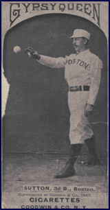 Ezra Sutton posing for 1887 Old Judge baseball card. Click to enlarge.