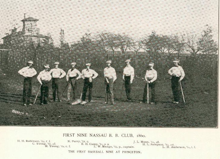 Baseball history photo: The First Baseball Nine at Princeton, 1860.  Click photo to return to previous page.