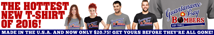 Funny softball t-shirt banner: Guanatanamo Bay Bombers Softball. Click here to get your own awesome tee now.