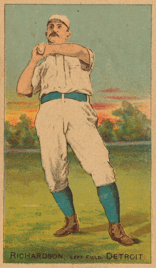 Baseball history photo: Baseball card featuring Hardy Richardson.  Click photo to return to previous page.