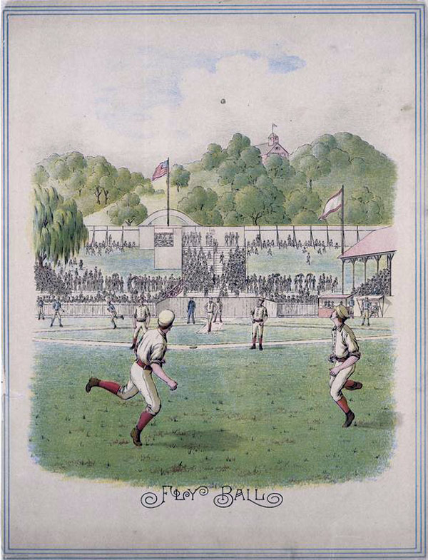 Baseball history illustration: Fly Ball. Click illustration to return to previous page.