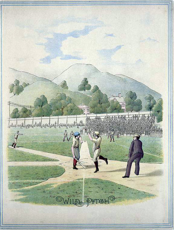 Baseball history illustration: Wild Pitch. Click illustration to return to previous page.