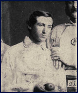 "Star pitcher Jim ""Lifting Speed"" Creighton of the Brooklyn Excelsiors circa 1860 (detail from team photo below). Albeit brief, his baseball career remains one of the most remarkable of all time. Click to enlarge."