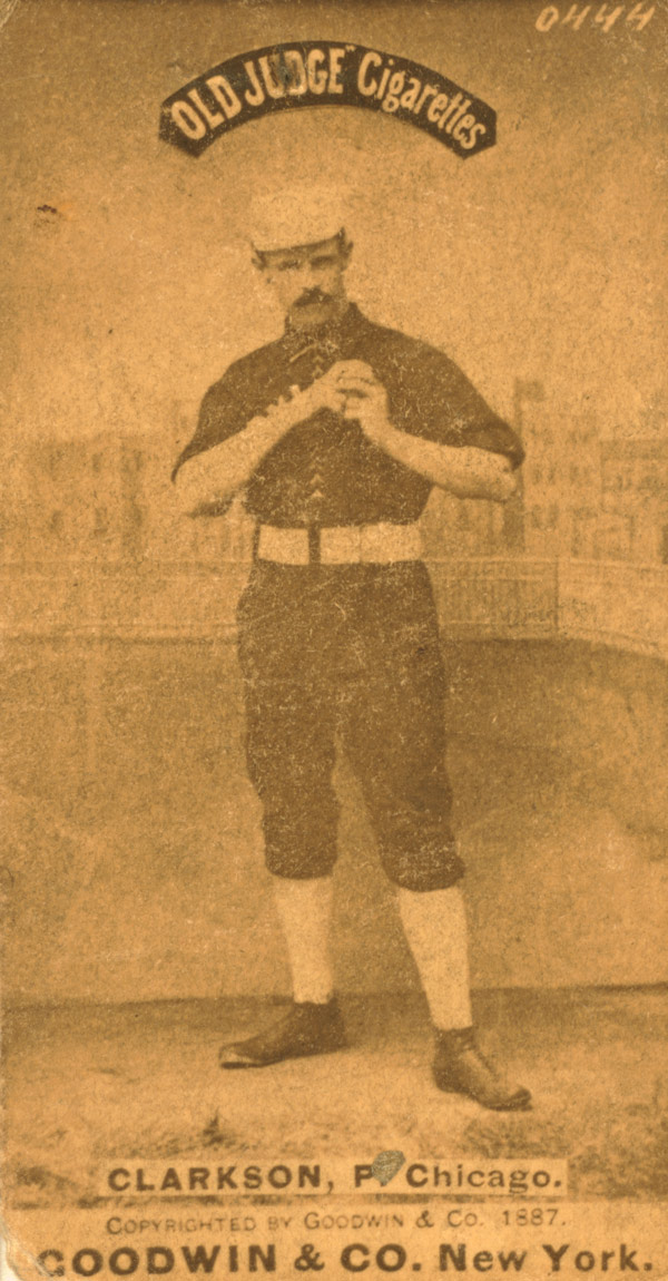 Baseball history photo: John Clarkson from baseball card image circa 1887.  Click photo to return to previous page.