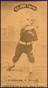 """Old Judge"" Cigarettes baseball card of John Clarkson circa 1887. Click to enlarge."