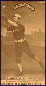 "John Clarkson in pose for ""Old Judge"" Cigarettes baseball card circa 1887. Click to enlarge."