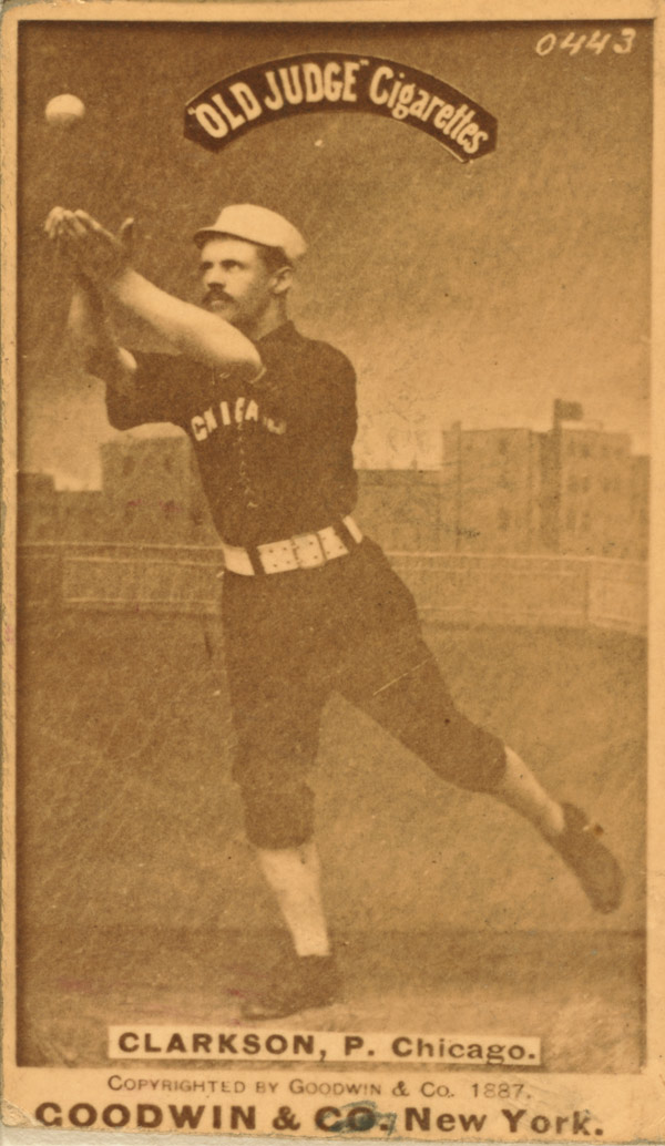 "Baseball history photo: JJohn Clarkson in pose for ""Old Judge"" Cigarettes baseball card circa 1887. Click photo to return to previous page."