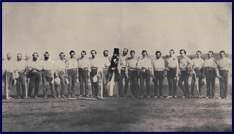 The Knickerbocker Base Ball Club and the Excelsior Base Ball Club in one of the earliest known team photos. Click to enlarge.