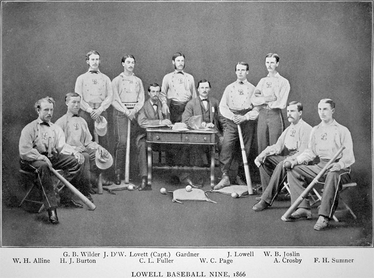 Baseball history photo: The 1866 Boston Lowells.  This club was originally formed in 1861 as a junior club.  The Lowells were one of only three New England teams to hold the Silver Ball trophy, pictured in a case on the table.  The other two were the Tri-Mountain Club and the Harvard Club.  The trophy was commissioned by John A. Lowell, an engraver, who was once the president of the Boston Bowdoin Club and a respected umpire.  The results of championship matches were engraved on the ball and a total of seventeen matches were recorded at the time of its destruction in 1868.  The New England Association of National Base Ball Players elected to destroy the trophy due to the bad behavior the players exhibited while attempting to win it.  The Silver Ball was melted down and sold for $19.46.  Click photo to return to previous page.