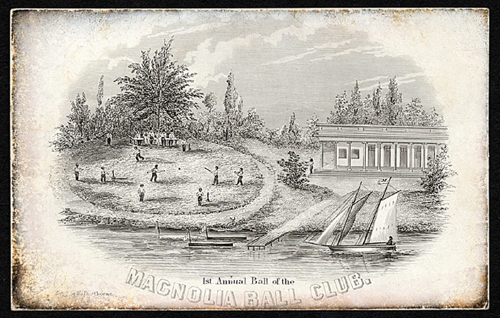 Baseball history photo: Ticket to the First Annual Ball of the New York Magnolia Ball Club, Friday evening, February 9, 1844. Click photo to return to previous page.
