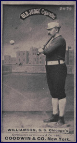 "Ned Williamson posing for 1887 ""Old Judge"" baseball card. Click to enlarge."