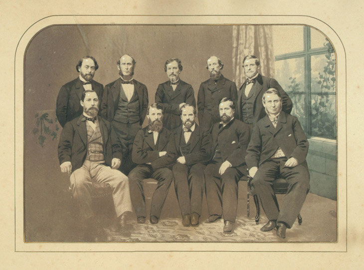 Baseball history photo: Salt print of the 1848-1850 New York Knickerbockers.  Taken December 1862, this picture chronicles many if the key member of one of baseballs first organized clubs. Click photo to return to previous page.