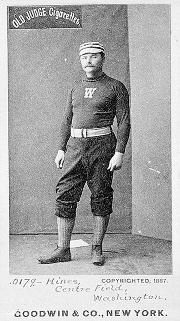 Center Fielder Paul Hines pictured on the Washington Nationals of the National League in 1887.  In 1886, his first year on the club, he led the Nationals in every offensive category except triples, but the team finished eighth out of eight teams and 60 games out of first place.  In 1887, he led the club in all but two offensive categories, triples and home runs and the club finished seventh out of eight and only 32 games out of first place.  The Nationals home games were played at the Swampoodle Grounds in Washington DC, perhaps the best name of a ball field of all time. Click photo to return to previous page.