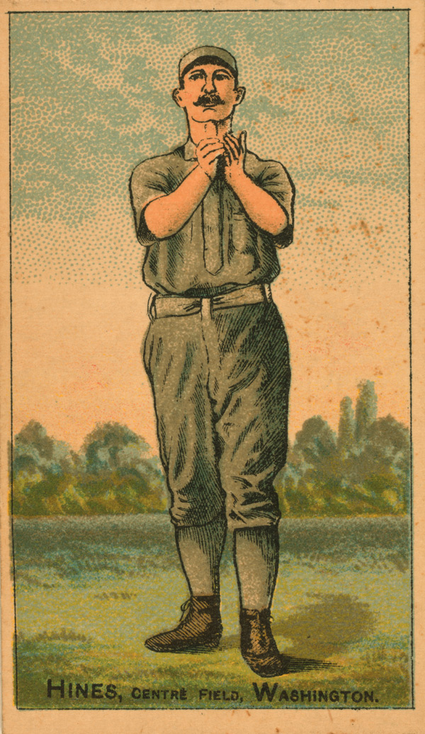 Baseball history photo: 1887 baseball card of Paul Hines, Center Fielder, Washington Nationals, National League.  Click photo to return to previous page.