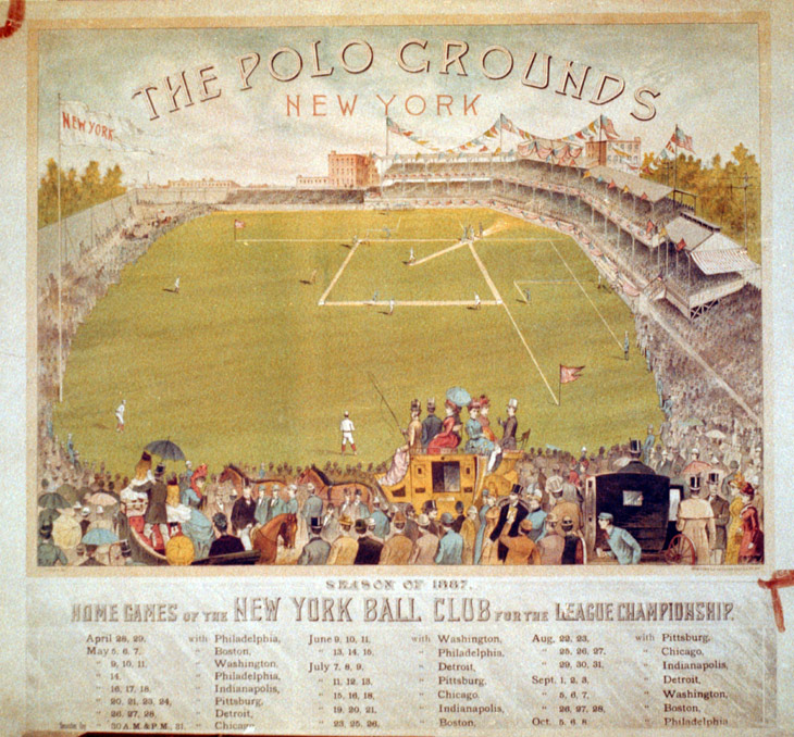 Baseball history photo: The Polo Grounds, New York, 1887. The deepest part of centerfield was 500 feet from home plate. Diamond-shaped ballparks and soft, under weighted baseballs made the home run a rare event in 19th century baseball. Click photo to return to previous page.