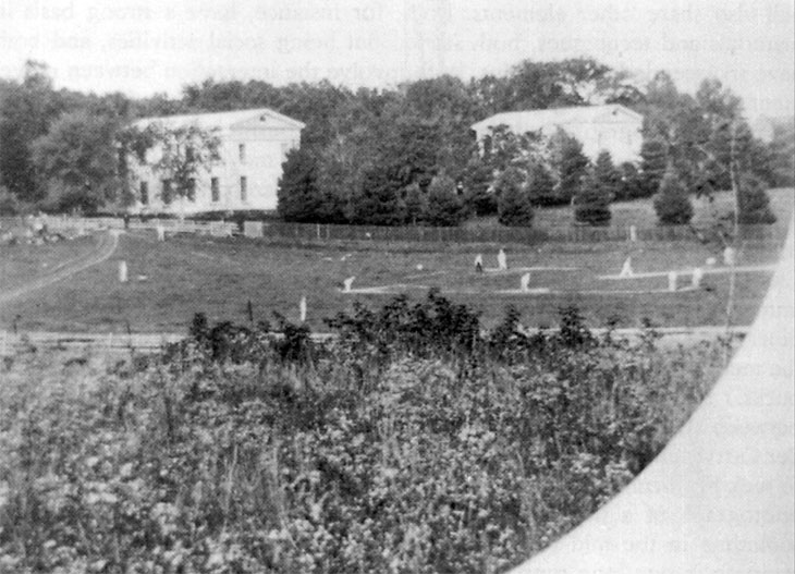 Baseball history photo: A photo from the Princeton College Yearbook of 1861–1862. It may be the first known photo of a baseball game. Click photo to return to previous page.