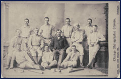 Providence Baseball Club, 1882, York, Riley, Hines, Start, Denny, Nara, H. Wright, Radbourne, Gilligan, G. Wright, Farrell, Ward. Click to enlarge.