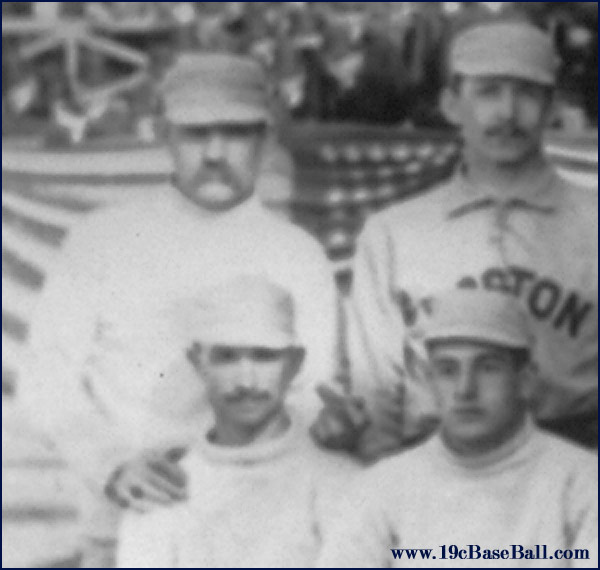 "Baseball history photo: Detail from 1886 Boston/New York team photo. The only pitcher in the history of major league baseball to win 60 games in a single season, Charles ""Old Hoss"" Radbourn extends his middle finger towards the camera. This is the earliest known photograph of a public figure using this gesture. Click photo to return to previous page."