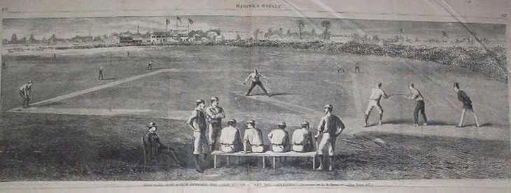 Baseball history illustration depicting the June 14, 1870 defeat of the Cincinnati Red Stockings by the Brooklyn Atlantics. The Cincinnati loss was the first in well over a year, ending their famous winning streak of 89 games. The Atlantics are in the field with George Zettlein pitching and Bob Ferguson playing third base. Ferguson was the Captain of the Atlantics and interestingly enough, this is the first reported game of any player hitting from both sides of the plate—that player was Bob Ferguson. Click illustration to return to previous page.