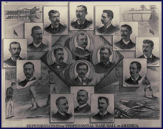 Representatives of the professional baseball clubs circa 1884. Click to enlarge.