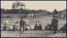 Baseball game, Saratoga Springs, New York circa 1880. Click to enlarge.